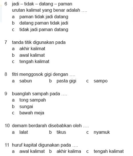 Soal Bahasa Indonesia Kelas 2 Sd Semester 1 Blognya Ummu Aufa