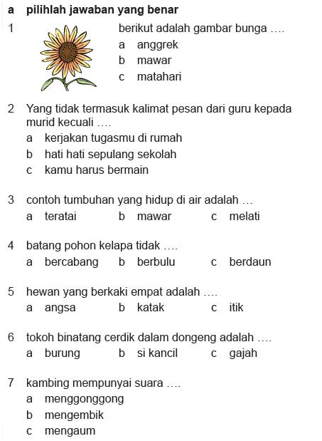 SOAL BAHASA INDONESIA KELAS 2 SD SEMESTER 2
