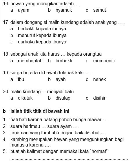 Soal Bahasa Indonesia Kelas 2 Sd Semester 2 Blognya Ummu Aufa
